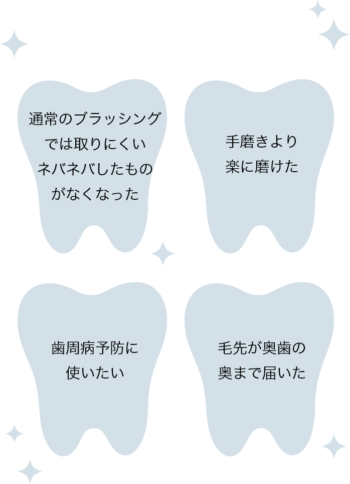 ・通常のブラッシングでは取りにくいネバネバしたものがなくなった ・手磨きより楽に磨けた ・歯周病予防に使いたい ・毛先が奥歯の奥まで届いた